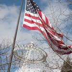 """American Flag Waves over the Spokane Pavilion"" by Groecar"