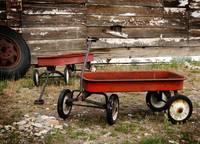 Vintage Red Wagons by David Kocherhans