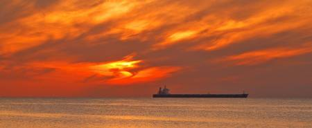 tanker with red sky 2