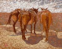 Three Mules on a Canyon Trail 11x14s