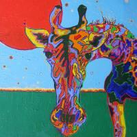 Funky Giraffe Art Prints & Posters by Katherine Bunschoten