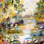 """""""Georgia Okefenokee Morning Watercolor Painting"""" by GinetteCallaway"""