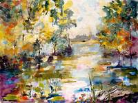 Georgia Okefenokee Morning Watercolor Painting