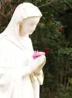 PRAYING STATUE WITH CAMELLIA BLOSSOM