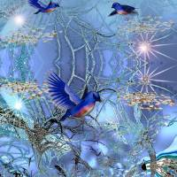 Blue Birds Art Prints & Posters by Shan Maree Hall Ballester