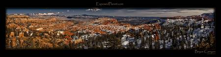 Panorama of Bryce Canyon at sunset in Winter, Utah