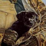 """Close to My Heart, black labrador on canvas"" by dog-art"