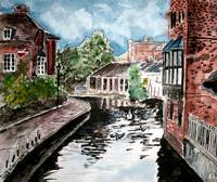 england river canal large cityscape painting