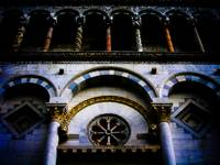 Detail, facade of the duomo, Lucca, Tuscany