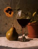 Wine Glass, Pear & Pansy