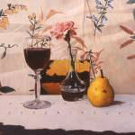 """Wine Glass Pear & Pink Carnation"" by danielmontoya"