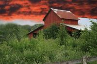 Red Barn Under Red Sky