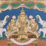 """Indian Goddess with Elephants"" by tanjore"