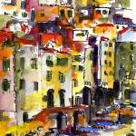 """Riomaggiore Italy Cinque Terre Watercolor by Ginet"" by GinetteCallaway"