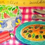 """PIZZA ,OLIVE ,E  INSALATA ( PIZZA,OLIVES, & SALAD)"" by saracatenacolorfulart"