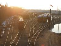 train yard at sunset