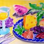 """""""WHITE WINE, CHEESE & FRUIT PLATTER"""" by saracatenacolorfulart"""