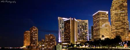 Miami`s Bayside by night