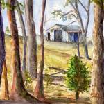 """Barn Landscape at the Edge of the Trees"" by Lenora"