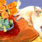 """Cat and Flowers, painting by RD Riccoboni"" by BeaconArtWorksCorporation"