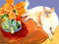 Cat and Flowers, painting by RD Riccoboni