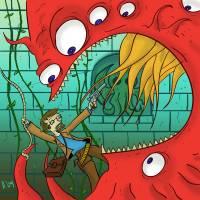 me vs tentacle monster Art Prints & Posters by Ryan Holgersen