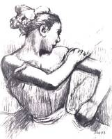 Half Figure of a Dancer Fixing Her Strap