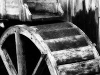 Cable Mill Water Wheel Cades Cove BW