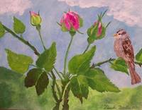 Sparrow with Rose Buds