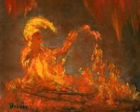 Flame Puppet--Orange and Yellow Jester in the Fire