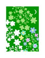 Bling Florals 5 (green, white, pink flowers, moon)