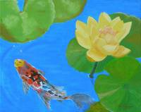 Water Lilies and Lone Koi Fish