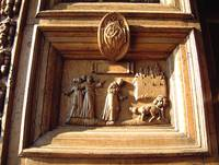 Carved Wooden Door at Basilica of Saint Francis