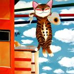 """cat-art-by-catmasutra -Hanging Out to Dry"" by catmasutra"