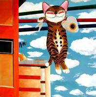 cat-art-by-catmasutra -Hanging Out to Dry