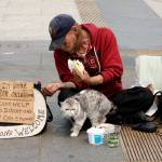 """Homeless Man and Cat"" by anthonyhuss"