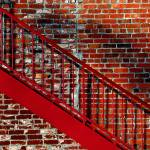 """red stair exit"" by DavidL"
