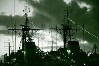 Warships at twilight