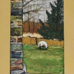 """Sheep and Stone Wall at Broken Barn"" by harryboardman"