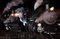 Locomotives With Steam At Night (1)