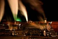 Locomotives With Steam At Night (2)