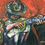"""Peruvian Guitar 07 Acrylic on Canvas 36x48"" by Reynaldo"