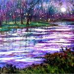 """Fireflies and Moonlight Stream byVadal"" by jeanvadalsmith"