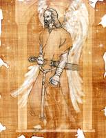 Angel in torn parchment