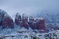Snowy Coffee Pot Rock in Sedona AZ 2736
