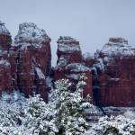 """Snowy Coffee Pot Rock in Sedona AZ 2741"" by SedonaPrints"