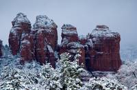 Snowy Coffee Pot Rock in Sedona AZ 2741