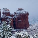 """Snowy Coffee Pot Rock in Sedona AZ 2743"" by SedonaPrints"