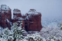 Snowy Coffee Pot Rock in Sedona AZ 2743