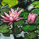 """Lily Pads With Pink Flowers"" by harryboardman"